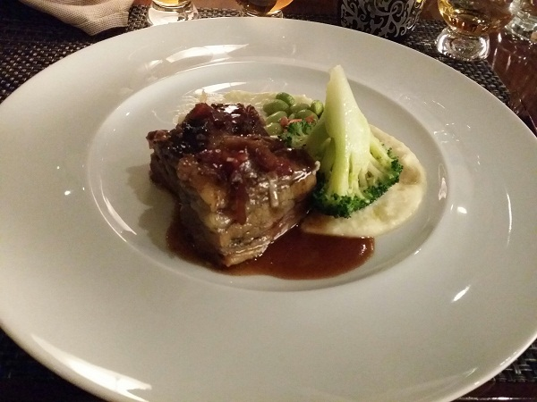 and the last entrée, a plate of US prime beef short rib paired with the Glenfarclas 17 years.