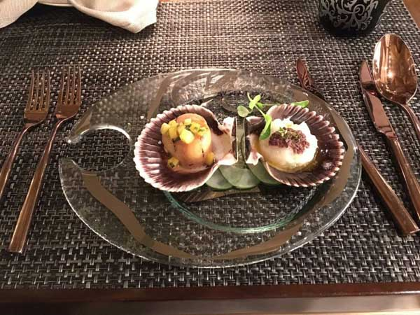 From the canapés, duo of scallops paired with the Glenfarclas 12 years